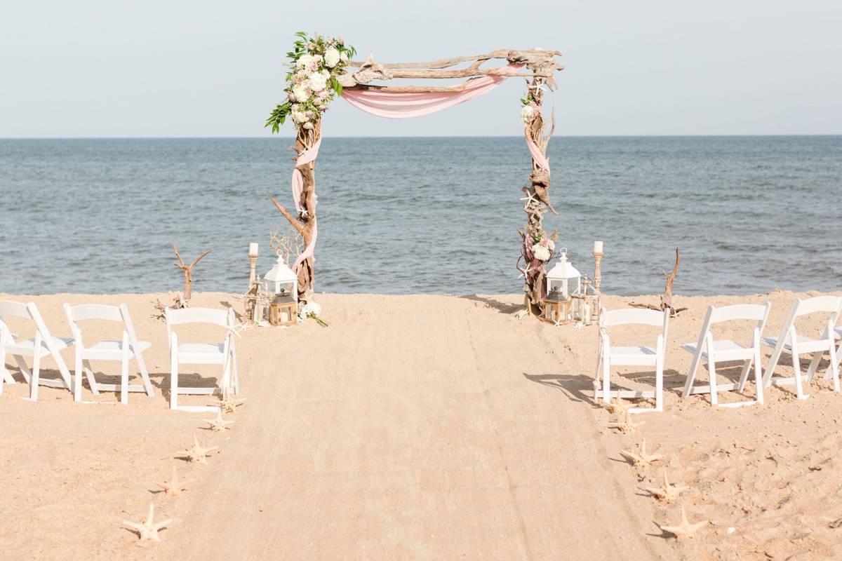 Outer Banks Vow Renewal Wedding Ceremony Set Up